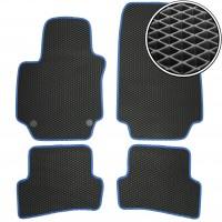 Коврики в салон для Renault Clio IV '13-, EVA-полимерные, черные с синей тесьмой (Kinetic)