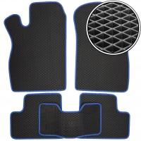 Коврики в салон для Lada (Ваз) 2113-15 '97-12, EVA-полимерные, черные с синей тесьмой (Kinetic)