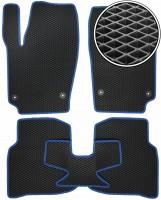 Фото 1 - Коврики в салон для Volkswagen Polo '10- седан, EVA-полимерные, черные с синей тесьмой (Kinetic)