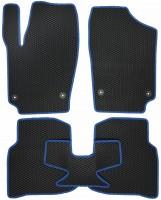 Фото 2 - Коврики в салон для Volkswagen Polo '10- седан, EVA-полимерные, черные с синей тесьмой (Kinetic)