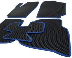 Фото 9 - Коврики в салон для Volkswagen Polo '10- седан, EVA-полимерные, черные с синей тесьмой (Kinetic)