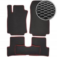 Коврики в салон для Renault Modus '04-12, EVA-полимерные, черные c красной тесьмой (Kinetic)