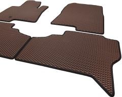 Фото 7 - Коврики в салон для Mitsubishi Pajero Wagon 3 '00-07, EVA-полимерные, коричневые с черной тесьмой (Kinetic)