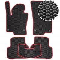 Коврики в салон для Volkswagen Passat B6 '05-10, EVA-полимерные, черные с красной тесьмой (Kinetic)