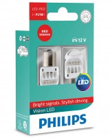 Автомобильные лампы Philips Vision LED-RED P21W 12V (2 шт.) 12839REDX2