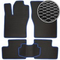 Коврики в салон для Daewoo Nexia '95-08, EVA-полимерные, черные с синей тесьмой (Kinetic)