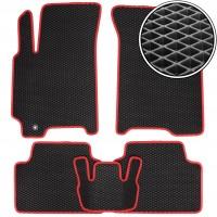 Коврики в салон для Chevrolet Lacetti '03-12 SDN/HB, EVA-полимерные, черные с красной тесьмой (Kinetic)