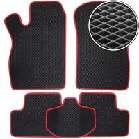 Коврики в салон для Lada (Ваз) 2113-15 '97-12, EVA-полимерные, черные с красной тесьмой (Kinetic)