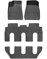 Коврики в салон для Tesla Model X '15-, 7 мест, черные, резиновые 3D (WeatherTech)