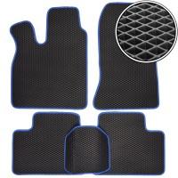 Коврики в салон для Lada (Ваз) 2110-12 '95-14, EVA-полимерные, черные с синей тесьмой (Kinetic)