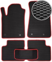Коврики в салон для Fiat Bravo '07-14, EVA-полимерные, черные с красной тесьмой (Kinetic)