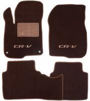 Коврики в салон для Honda CR-V '17- текстильные, коричневые (Премиум) 2 клипсы