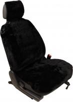 Меховая накидка на сиденье из овечьей шкуры универсальная черная (1шт)