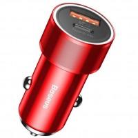 Универсальное автомобильное зарядное устройство Baseus Small Screw PD+USB (CAXLD-A09) красный