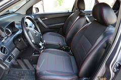 Фото 2 - Авточехлы Premium для салона Chevrolet Aveo '04-11, седан красная строчка (MW Brothers)