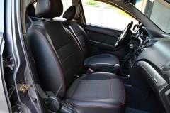 Фото 3 - Авточехлы Premium для салона Chevrolet Aveo '04-11, седан красная строчка (MW Brothers)