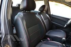 Фото 4 - Авточехлы Premium для салона Chevrolet Aveo '04-11, седан красная строчка (MW Brothers)