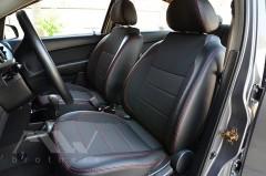 Фото 7 - Авточехлы Premium для салона Chevrolet Aveo '04-11, седан красная строчка (MW Brothers)