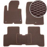 Kinetic Коврики в салон для Hyundai Santa Fe '13-17 DM, EVA-полимерные, коричневые (Kinetic)