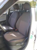 Авточехлы Premium для салона Skoda Fabia II '07-14 красная строчка, с цельной спинкой (MW Brothers)