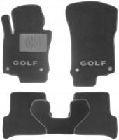 Коврики в салон для Volkswagen Golf V '04-09 текстильные, черные (Люкс) 4 клипсы