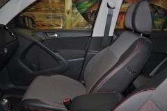 Авточехлы Premium для салона Volkswagen Tiguan '07-16, со столиком, красная строчка (MW Brothers)
