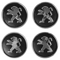 Колпачки на диски для Peugeot, черные 60x55 мм (4 шт)