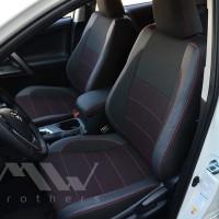 Авточехлы Premium для салона Toyota RAV4 '19-, красная строчка (MW Brothers)