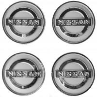 Колпачки на диски для Nissan, серые 60x55 мм (4 шт)