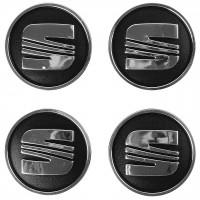 Колпачки на диски для Seat, черные 60x55 мм (4 шт)