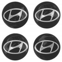 Колпачки на диски для Hyundai, черные 60x55 мм (4 шт)