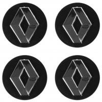 Колпачки на диски для Renault, черные 60x56 мм (4 шт)