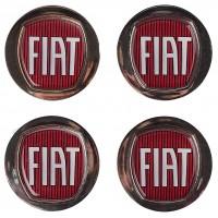 Колпачки на диски для Fiat, красные, серый бортик 48x42 см (4 шт.)