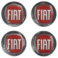 Ковпачки на диски для Fiat, червоні, сірий бортик 49x43 см (4 шт.)