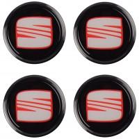 Колпачки на диски для Seat, черные 68x63 см (4 шт.)