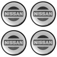 Колпачки на диски для Nissan, серые, черный бортик, 65x56 см (4 шт.)