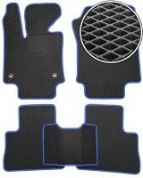 Коврики в салон для Toyota RAV4  '19- Hybrid, EVA-полимерные, черные с синей тесьмой + ПП (Kinetic)
