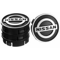 Колпачки на диски для Nissan, черные 60x55 мм (4 шт)