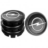 Колпачки на диски для Opel, черные 65x56 мм (4 шт)