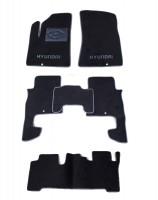 Коврики в салон для Hyundai Santa Fe '06-10 CM текстильные, серые (Люкс) 1+2+3 ряд