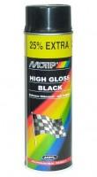 Аэрозольная эмаль универсальная черная глянцевая 500 мл. (Motip)