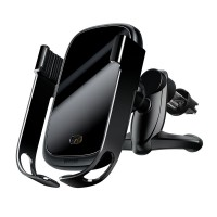 Беспроводное зарядное устройство + авто держатель Baseus Rock-Solid Electric чёрный (WXHW01-01)