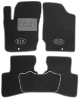 Коврики в салон для Kia Cerato Koup '09- текстильные, серые (Люкс)