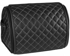 Органайзер в багажник Leather ромб, черный с белой строчкой (Inliner)