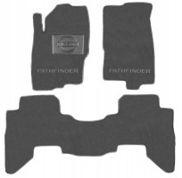 Коврики в салон для Nissan Pathfinder '11-14 текстильные, серые (Люкс) 1+2+3 ряд