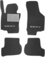 Коврики в салон для Seat Leon '05-12 текстильные, серые (Люкс)