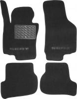 Коврики в салон для Seat Leon '05-12 текстильные, черные (Люкс)