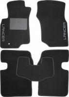 Коврики в салон для Mitsubishi Lancer 9 '04-09 текстильные, черные (Люкс) без лентяйки