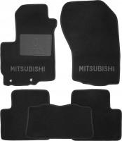 Коврики в салон для Mitsubishi Outlander XL '07-12 текстильные, черные (Люкс) без лентяйки