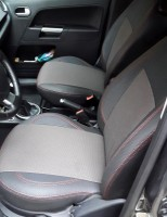 Авточехлы Premium для салона Ford Fusion '02-12 красная строчка (MW Brothers)
